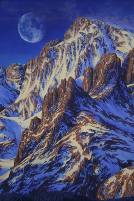 """Long's Peak in the Moonlight"""